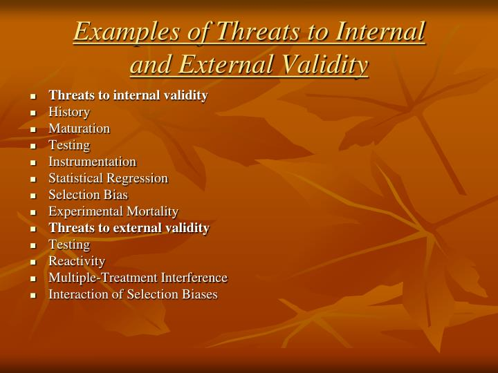 Examples of Threats to Internal