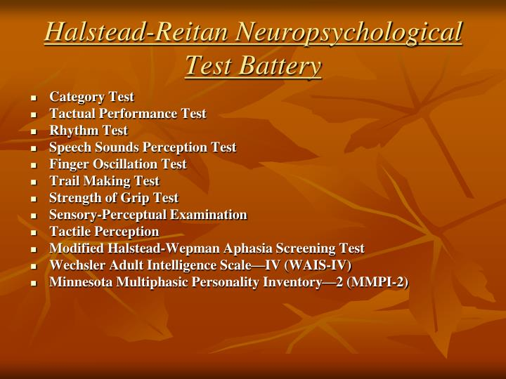 Halstead-Reitan Neuropsychological Test Battery