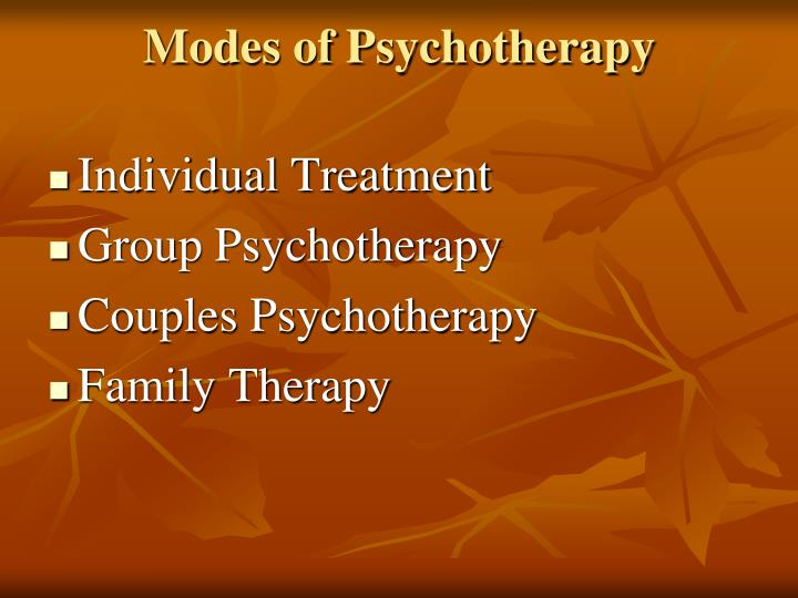 Modes of Psychotherapy