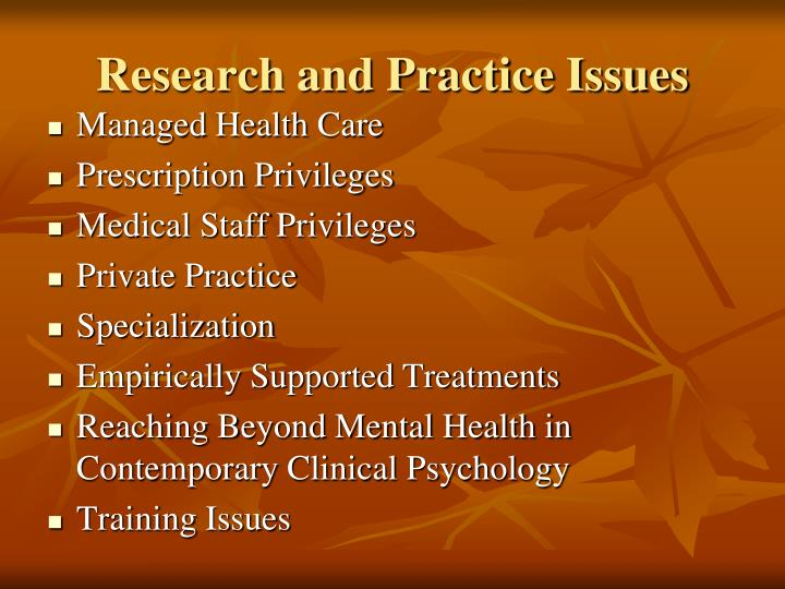 Research and Practice Issues