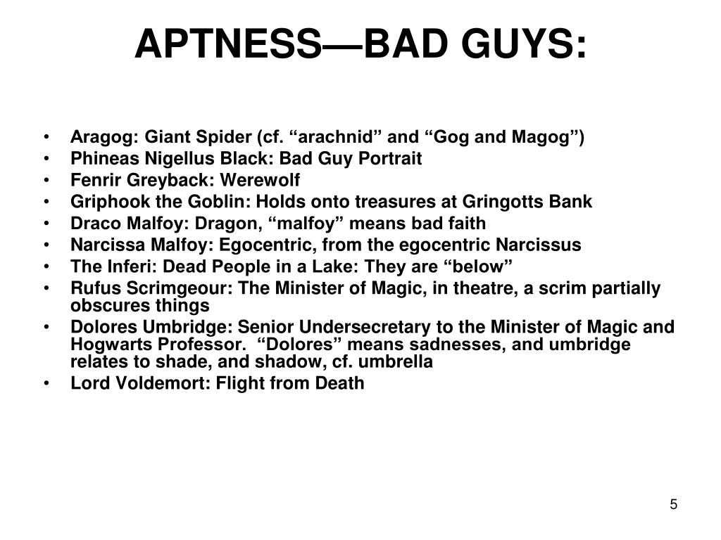 APTNESS—BAD GUYS: