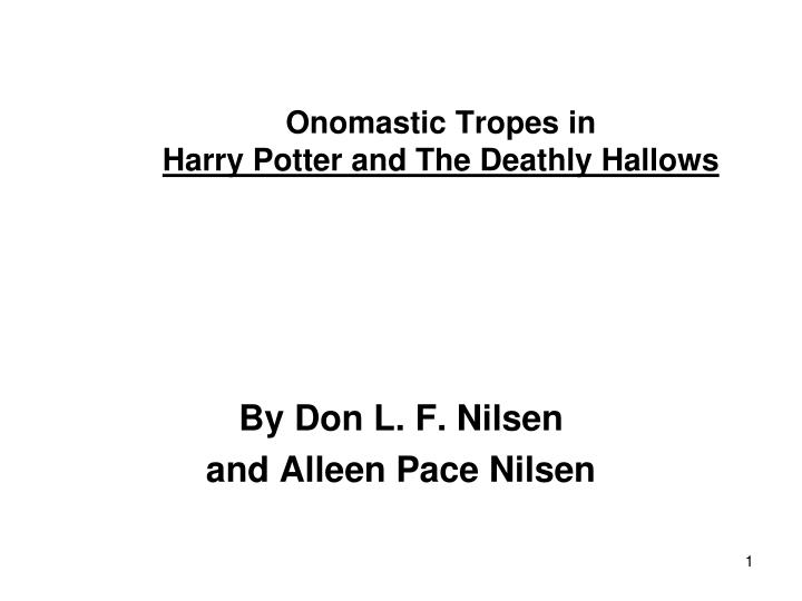 Onomastic tropes in harry potter and the deathly hallows