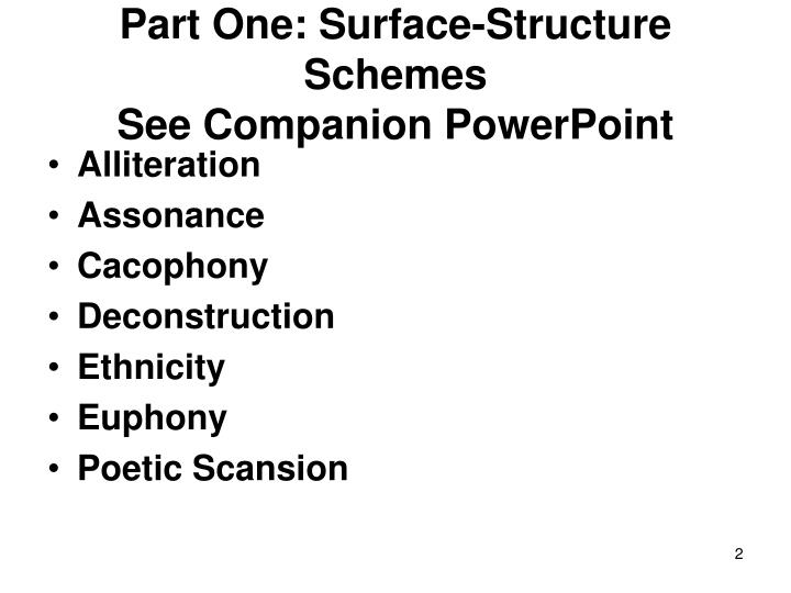Part one surface structure schemes see companion powerpoint