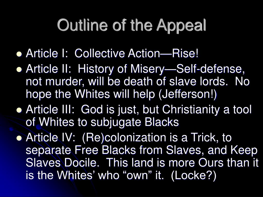 Outline of the Appeal