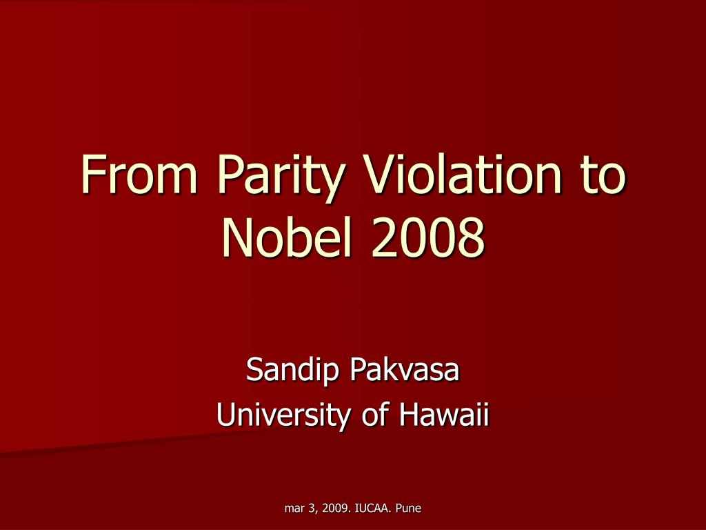 From Parity Violation to