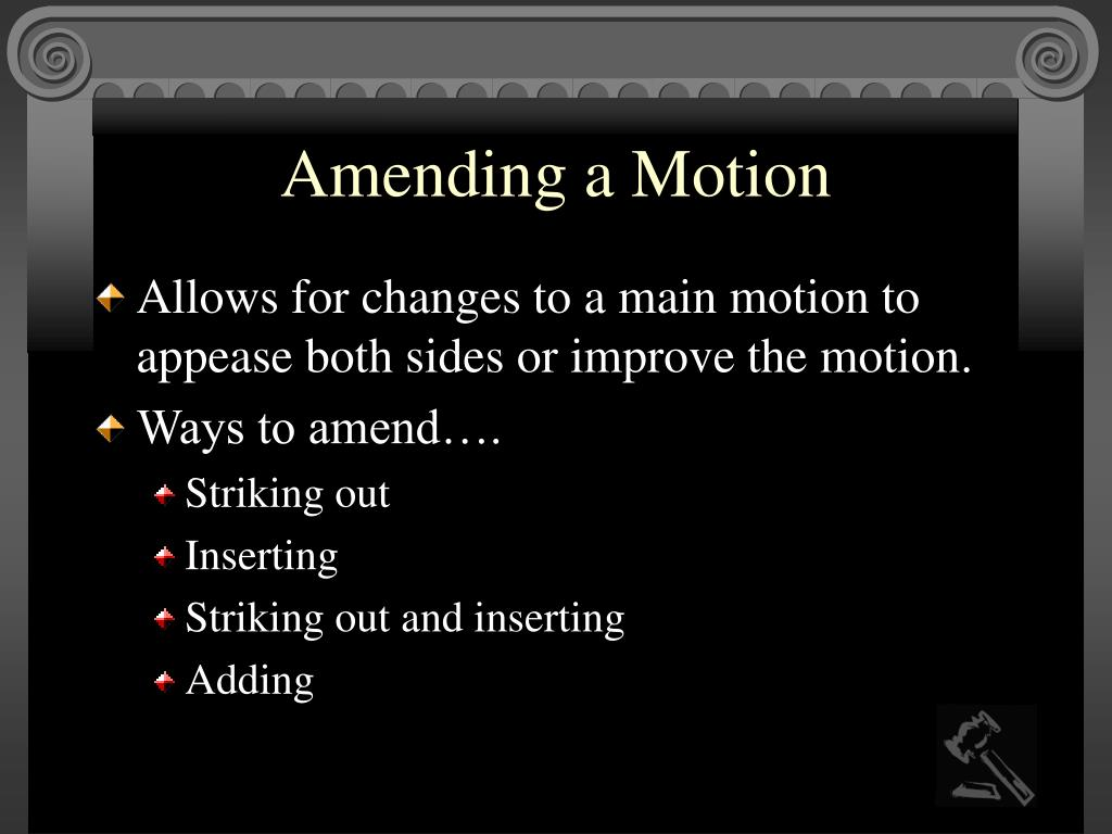 Amending a Motion