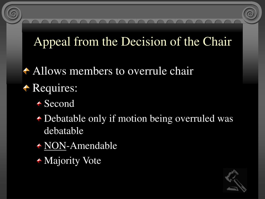 Appeal from the Decision of the Chair