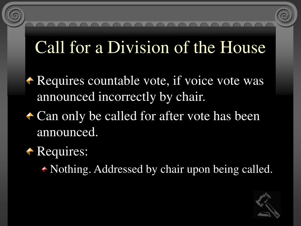 Call for a Division of the House