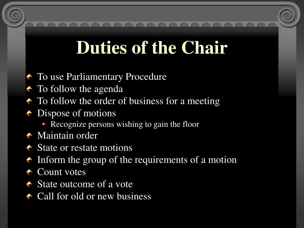 Duties of the Chair