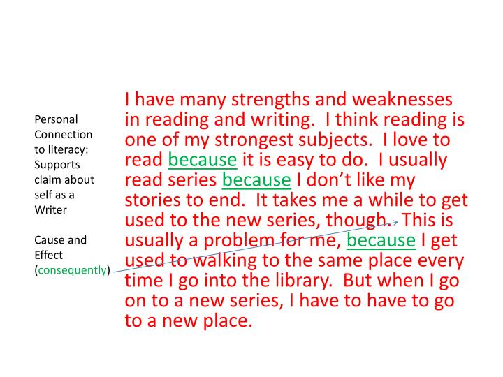 I have many strengths and weaknesses in reading and writing.  I think reading is one of my strongest subjects.  I love to read