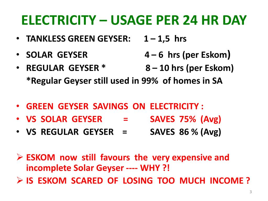 ELECTRICITY – USAGE PER 24 HR DAY