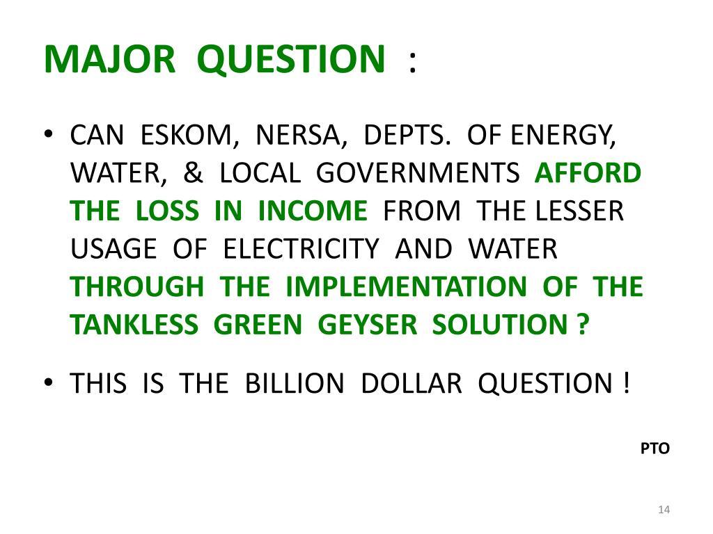 MAJOR  QUESTION