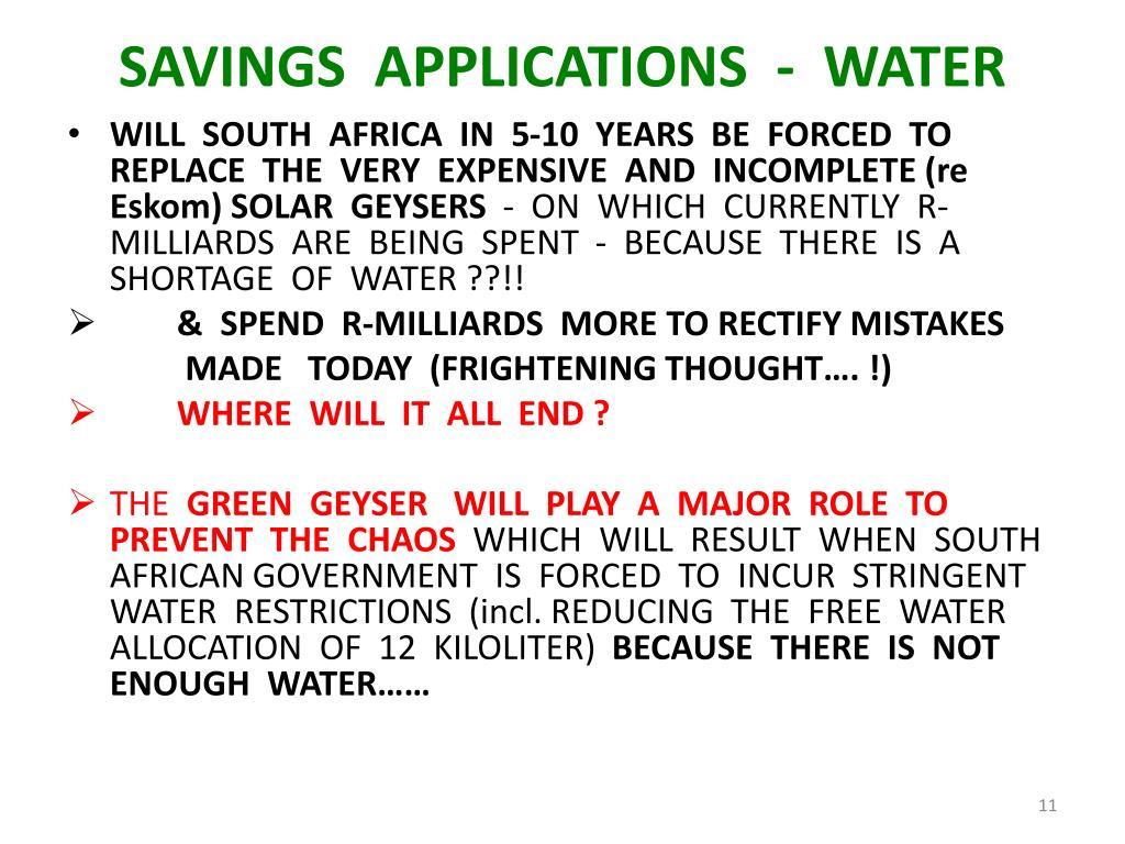 SAVINGS  APPLICATIONS  -  WATER