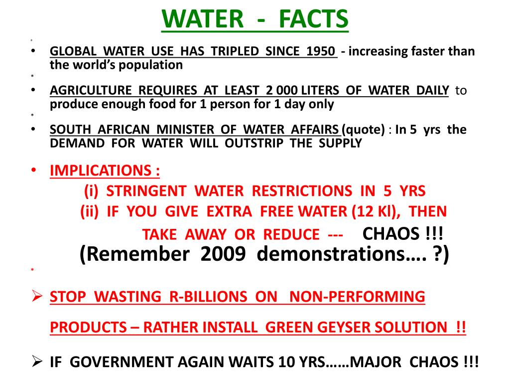 WATER  -  FACTS