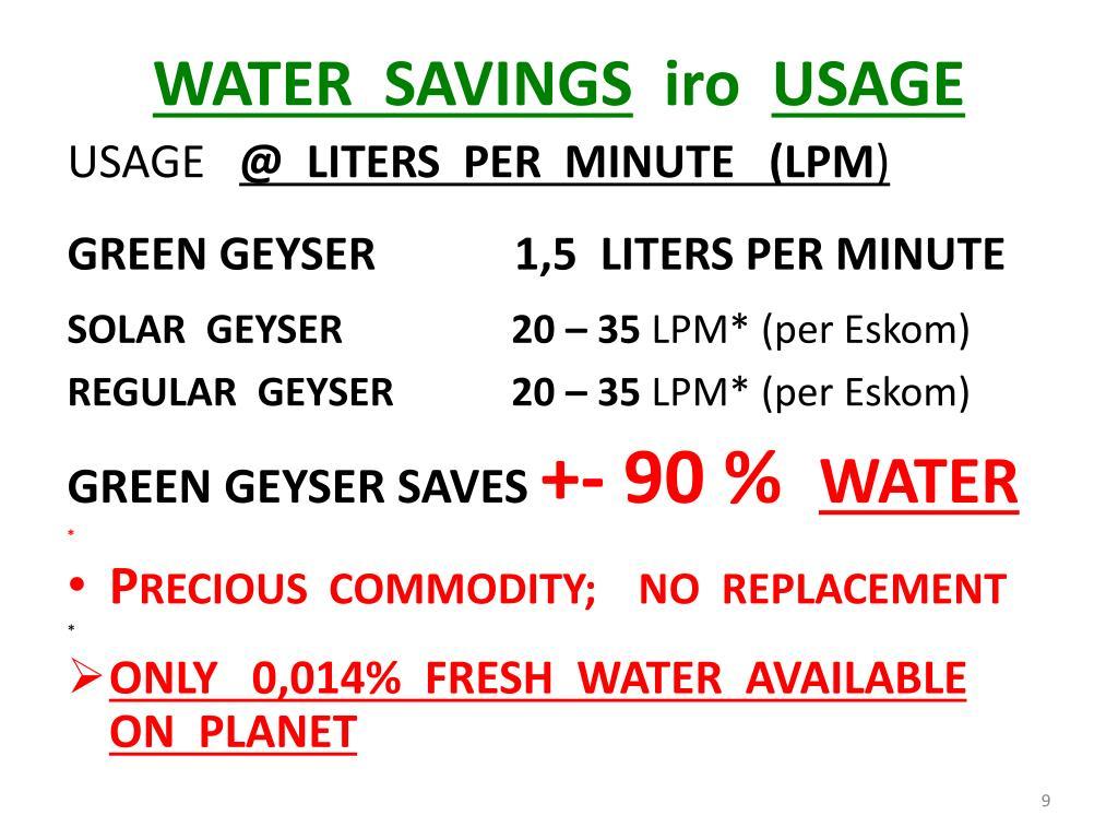 WATER  SAVINGS