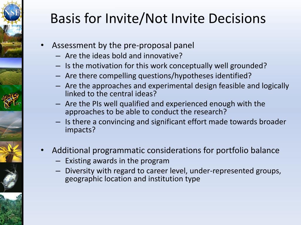 Basis for Invite/Not Invite Decisions