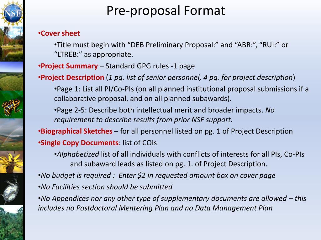 Pre-proposal Format