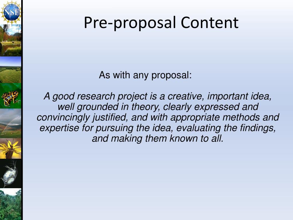 Pre-proposal Content