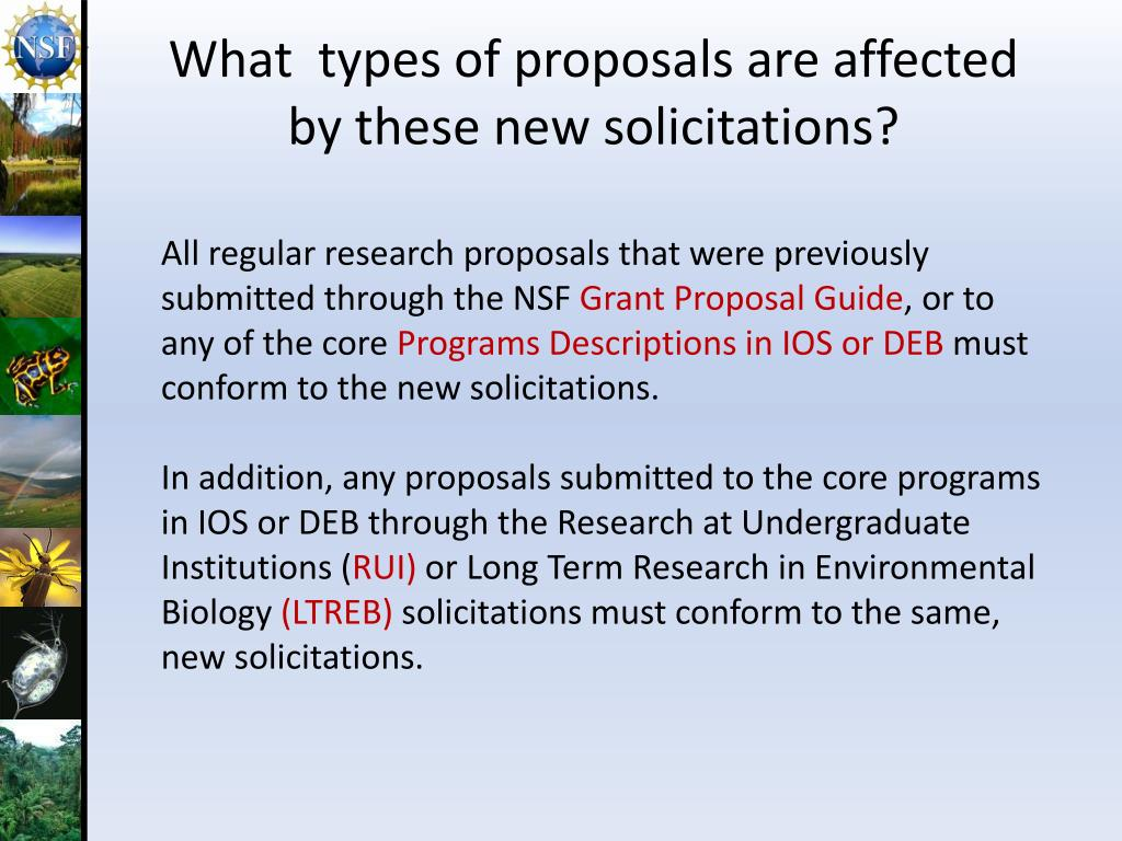 What  types of proposals are affected by these new solicitations?