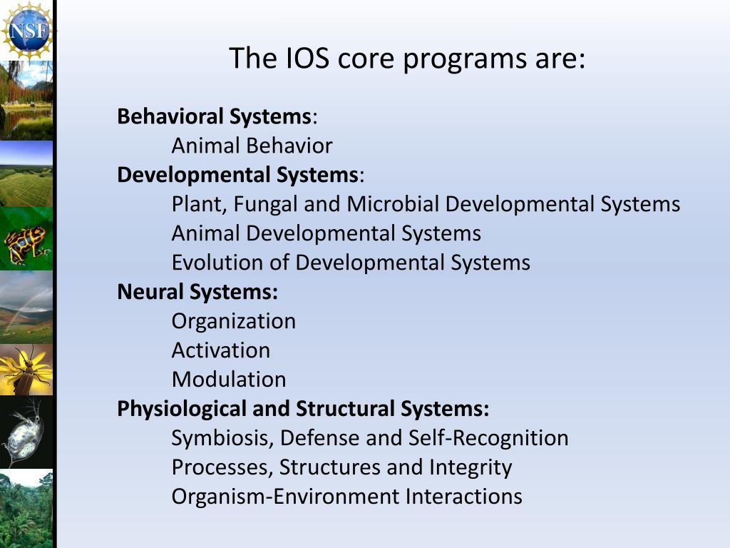 The IOS core programs are: