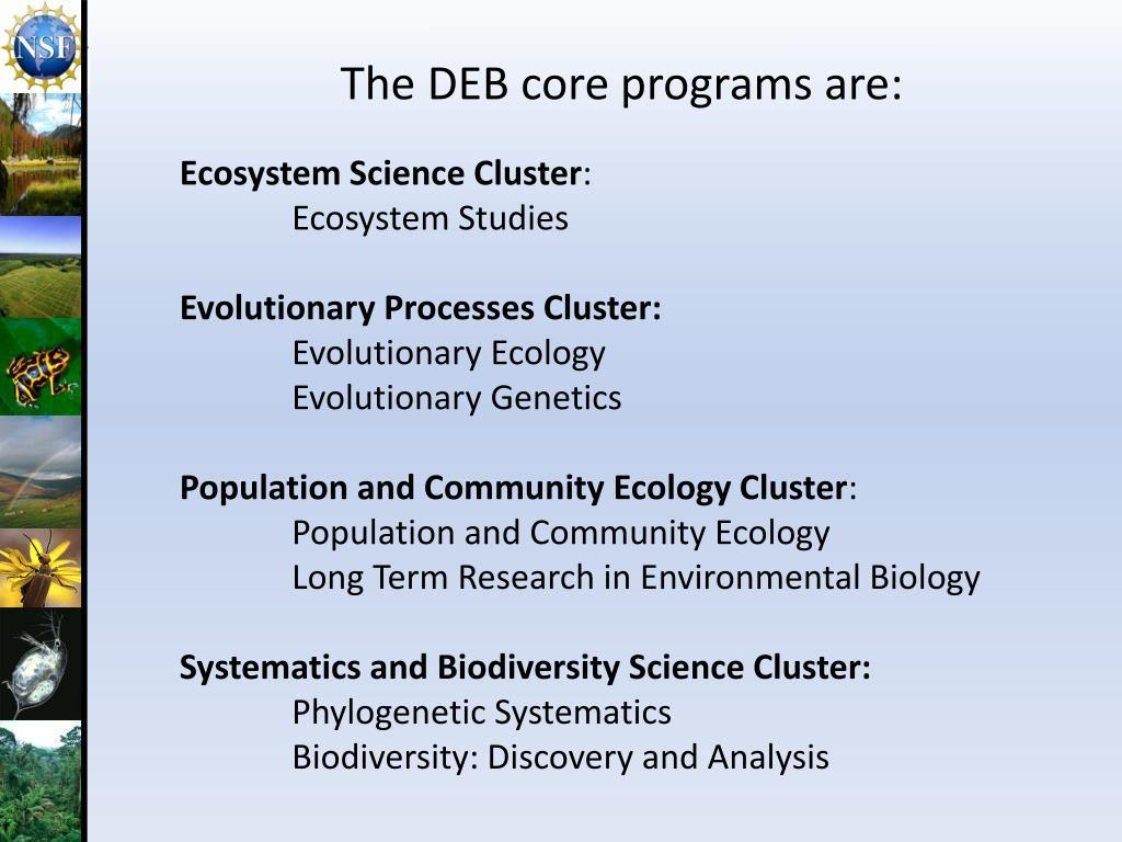 The DEB core programs are: