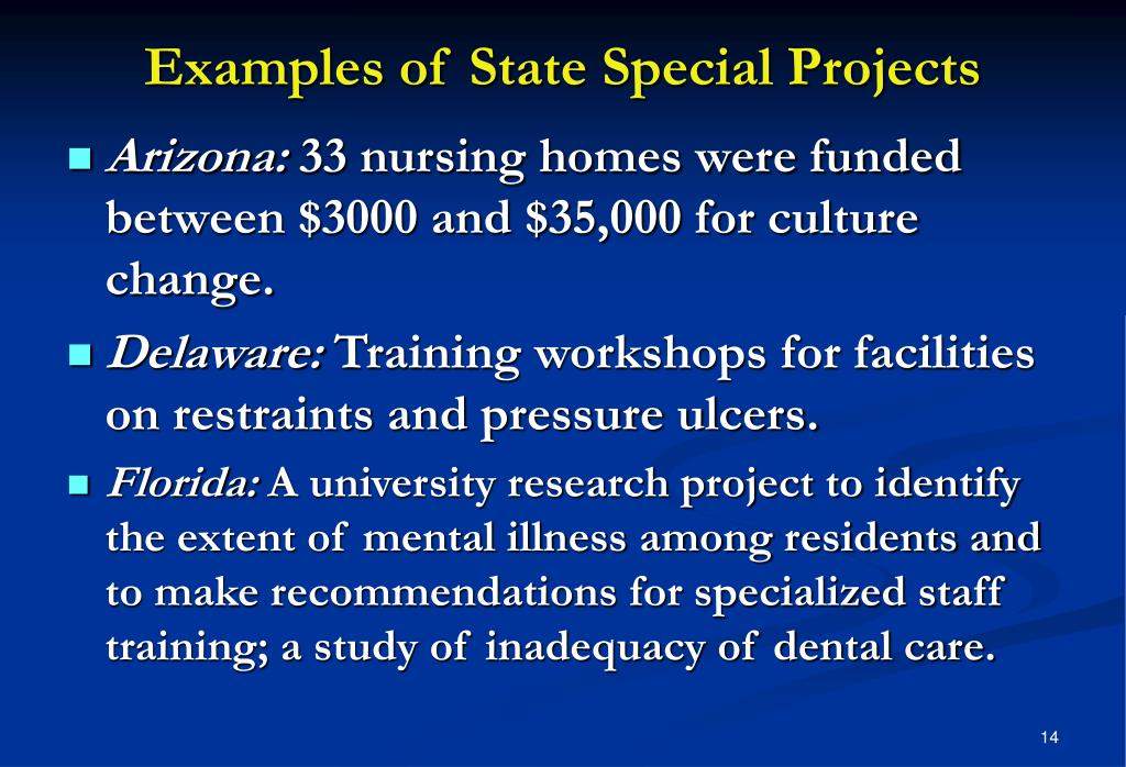 Examples of State Special Projects