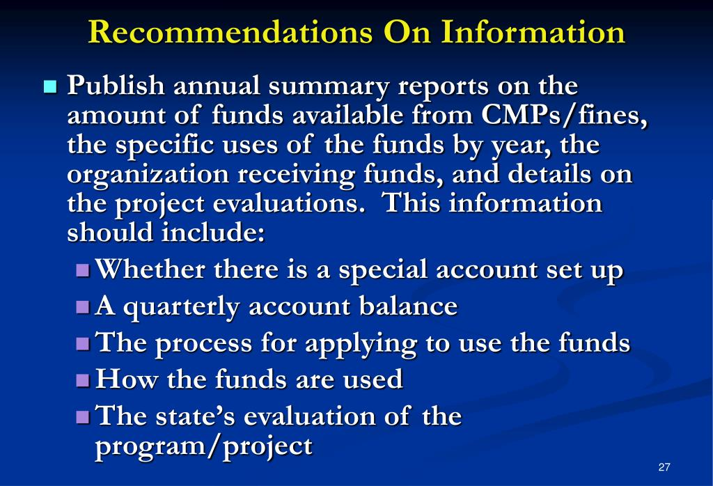 Recommendations On Information