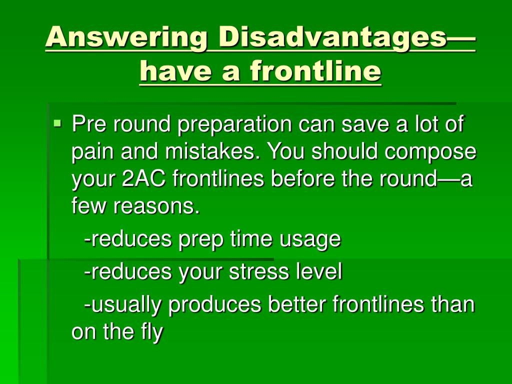 Answering Disadvantages—have a frontline