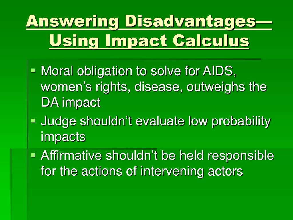 Answering Disadvantages—Using Impact Calculus