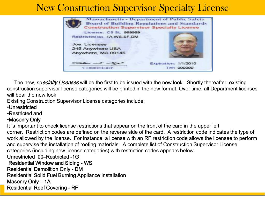New Construction Supervisor Specialty License