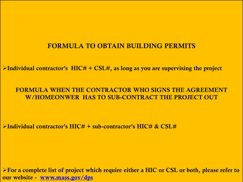 FORMULA TO OBTAIN BUILDING PERMITS