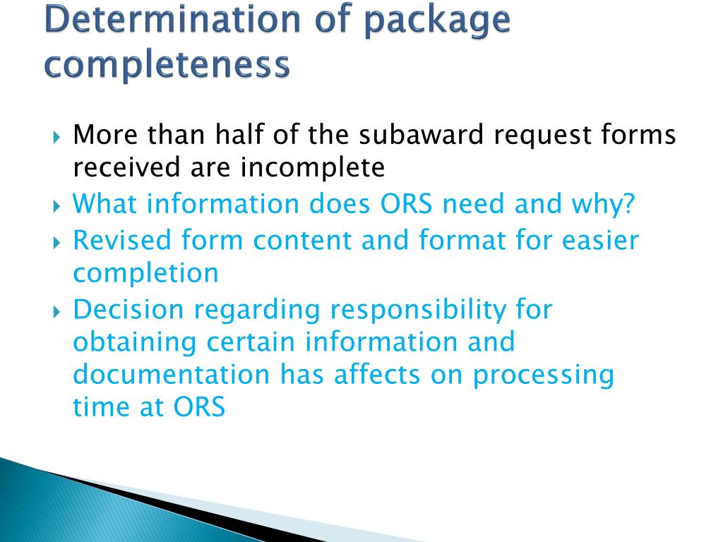 Determination of package completeness
