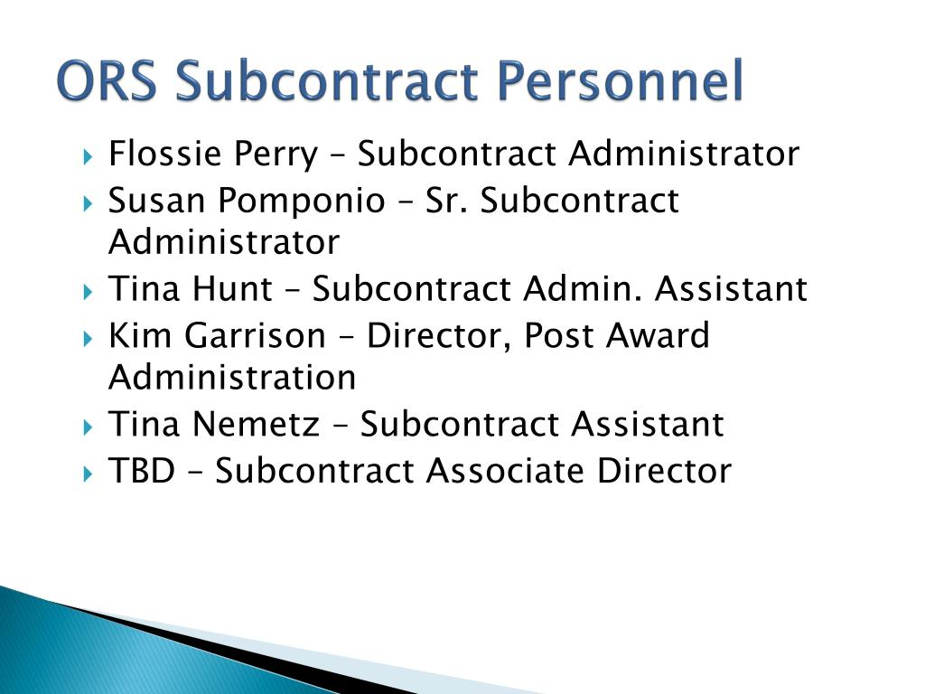 ORS Subcontract Personnel