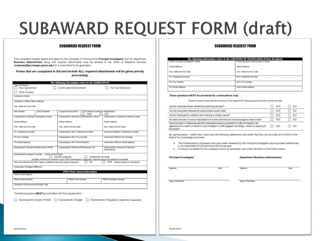 SUBAWARD REQUEST FORM (draft)