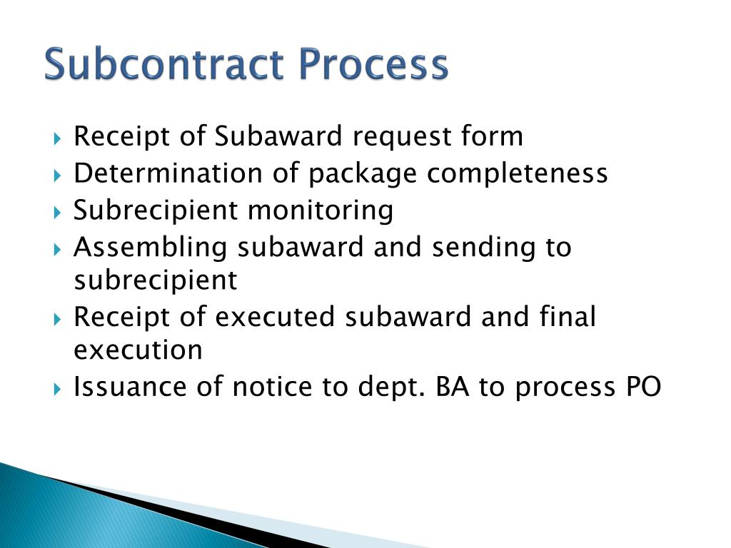 Subcontract Process