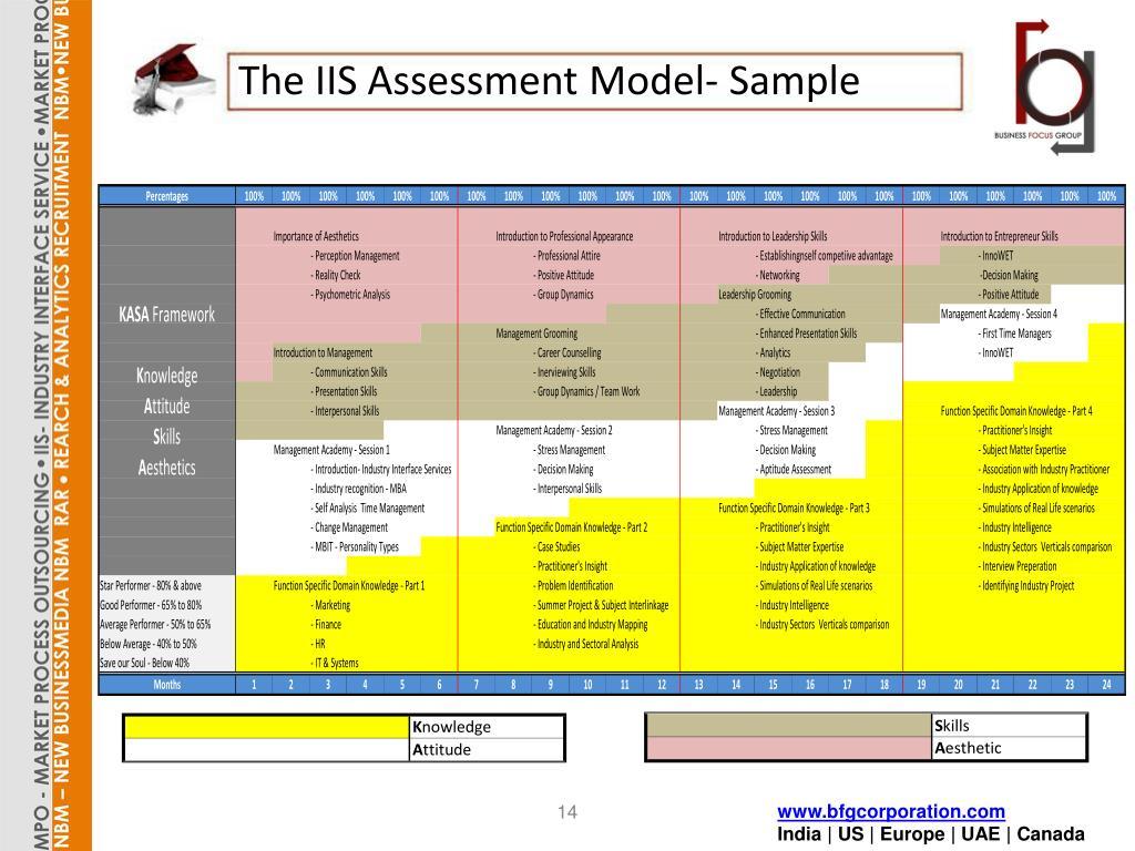 The IIS Assessment Model- Sample