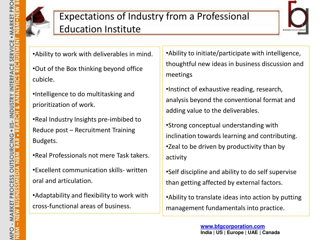 Expectations of Industry from a Professional