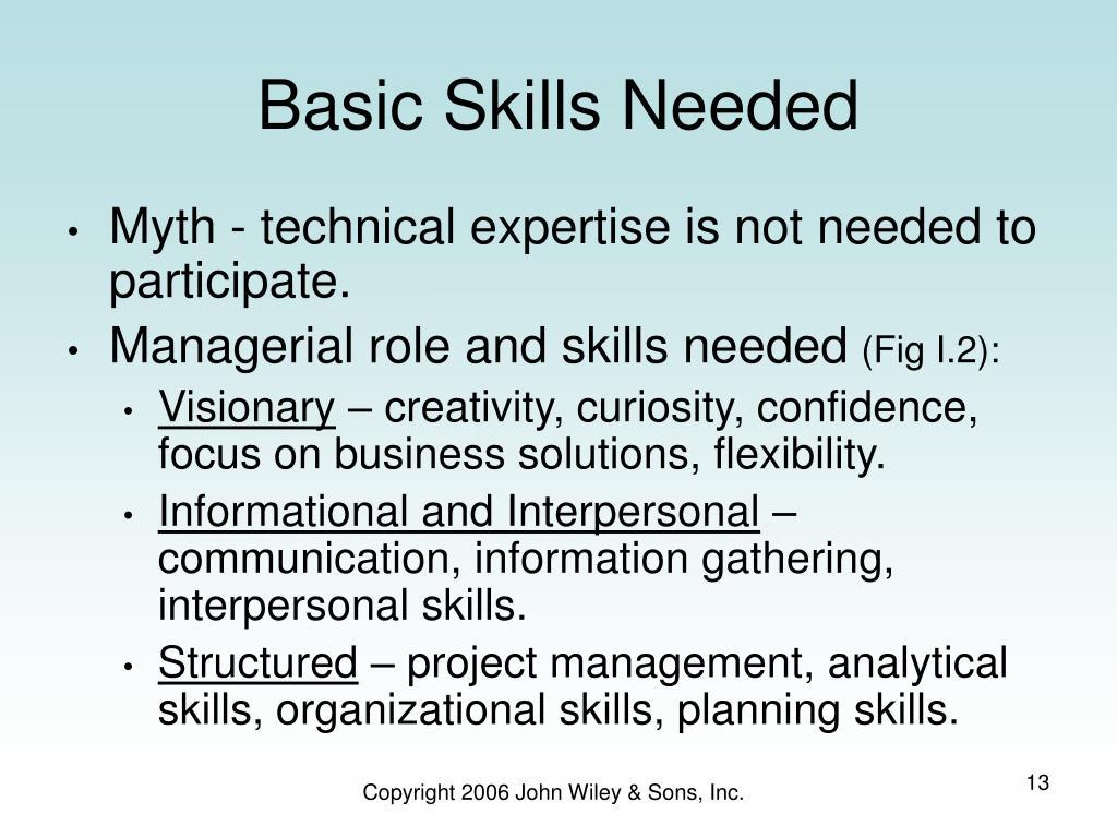 Basic Skills Needed