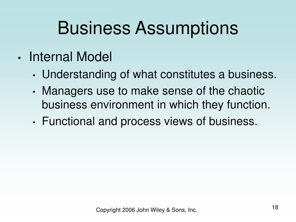 Business Assumptions