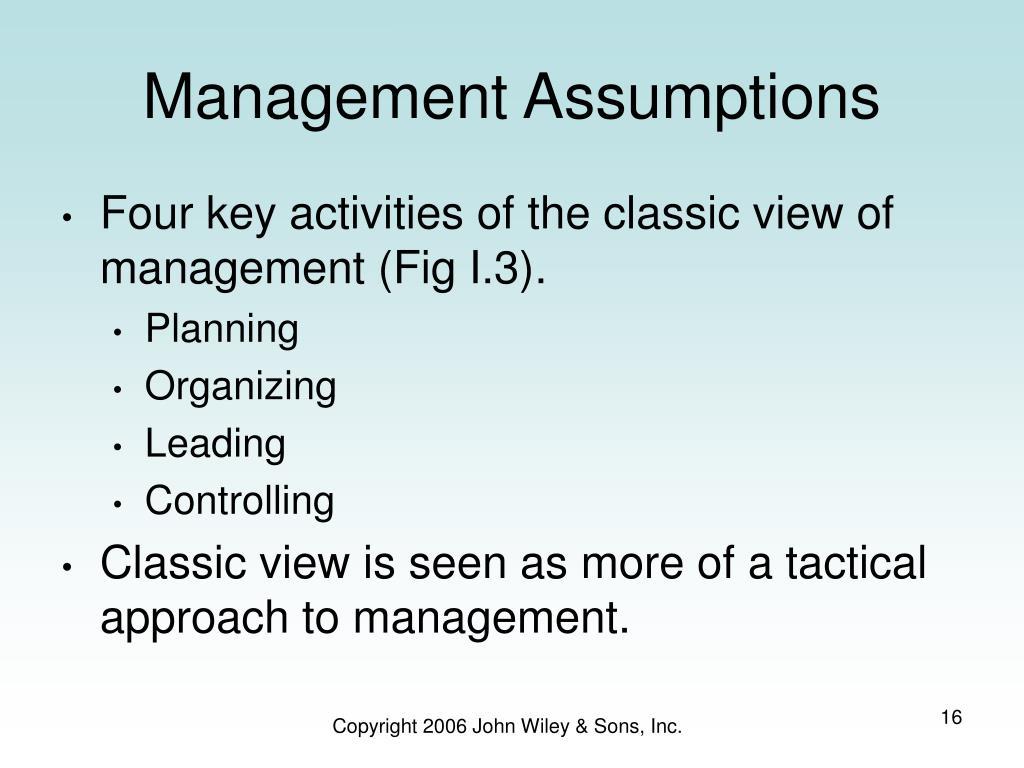 Management Assumptions