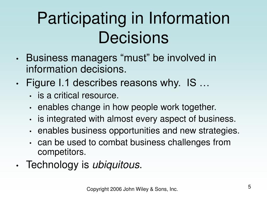 Participating in Information Decisions