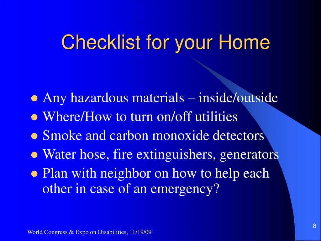 Checklist for your Home