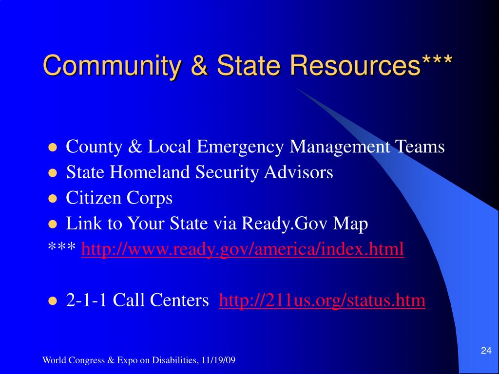 Community & State Resources***