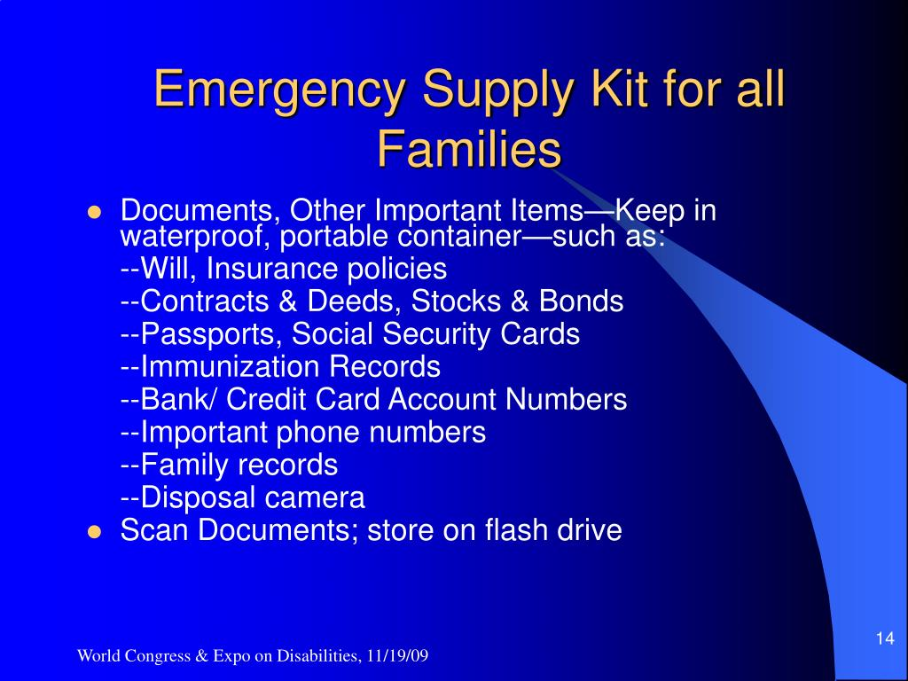 Emergency Supply Kit for all Families