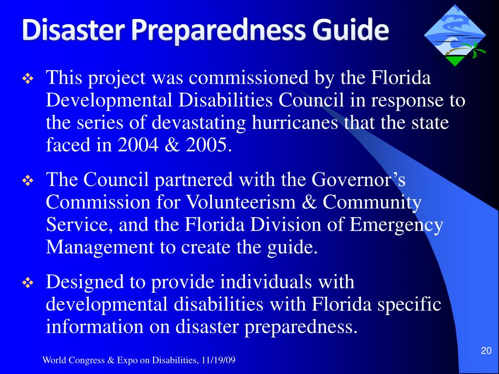 This project was commissioned by the Florida Developmental Disabilities Council in response to the series of devastating hurricanes that the state faced in 2004 & 2005.