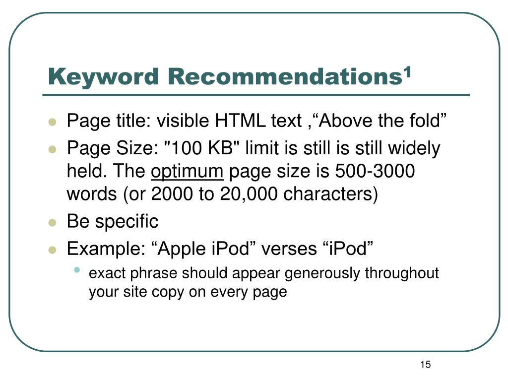 Keyword Recommendations