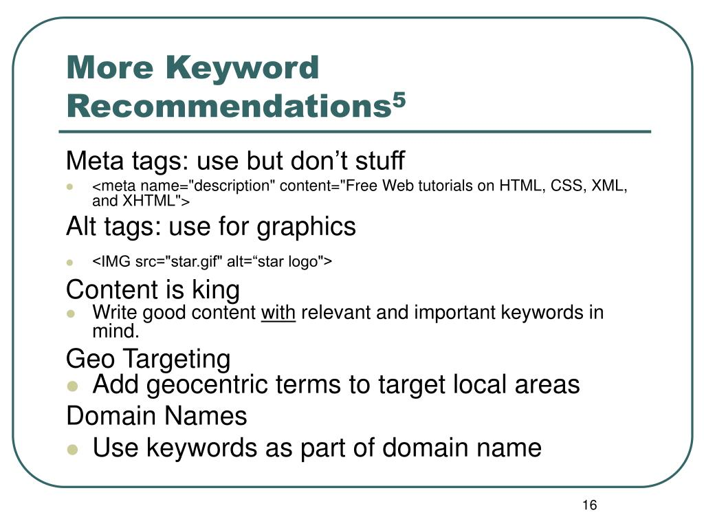 More Keyword Recommendations