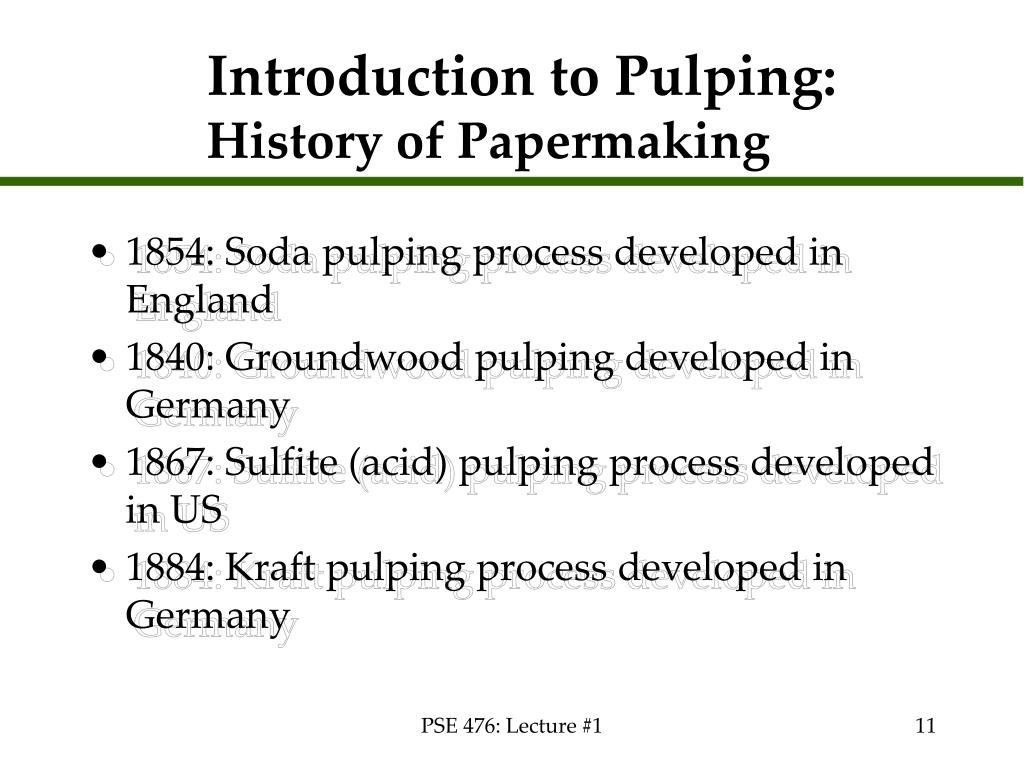Introduction to Pulping: