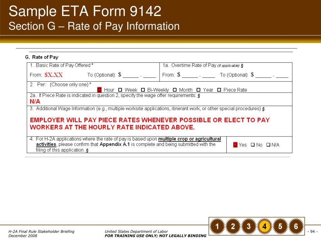 Sample ETA Form 9142