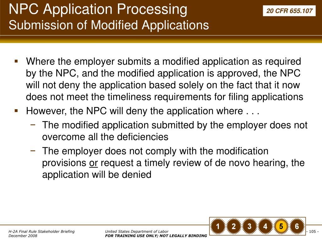NPC Application Processing